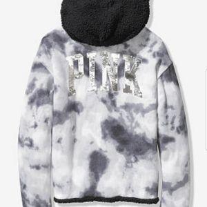 Pink VS reversible sherpa lined hoodie XL